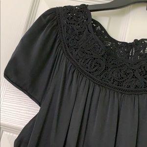 ELIE TAHARI Black Silk Dress with Lace Details